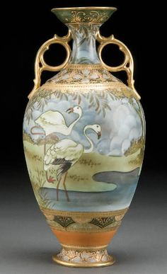 A Nippon Jeweled, Hand-Painted Porcelain Vase Decorated with Flamingos