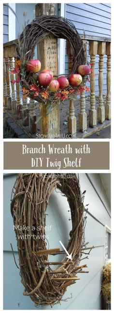 "Add your own ""shelf"" to a wreath with twigs or shims so that you don't have to glue or tack down items like apples, fruit, pumpkins, candy, etc.. from Stow  and TellU"