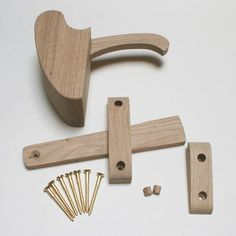 Handcrafted Solid Oak Grab Latch Set