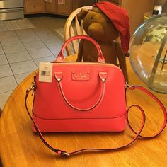 NWT, Kate Spade Small Rachelle Pink Peony!  Brand new with tags, never used measures about 10 deep and 12 across the top. Roomy purse with strap or handle carry. Wellesley, peony 661.  Pink color. I have matching wallet in separate listing.  Can bundle. Reasonable offers, no trades! kate spade Bags Shoulder Bags