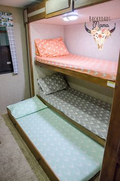 This listing is for one custom made fitted sheet that fits a camper/travel trailer bunk at approx. 29x75. These sheets have French seams so all raw edges are fully encased. Dress up your bunk room and quit messing with ill fitting sheets! Coordinating pillow cases also available! Please specify which fabric you would like and convo me for any questions! Made in my smoke-free home studio. Check out the coordinating pillow cases! https://www.etsy.com/listing/279630408/custom-pillow-case-cam...