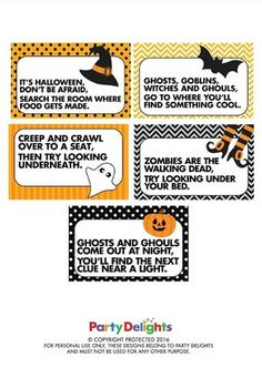 download our free printable halloween treasure hunt clues and organise your own spooky scavenger hunt