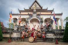 The Sounds of Angkor troupe performs instruments depicted on Angkorian bas-reliefs and were lost until ethnomusicologist Kersalé rebuilt them in 2013! Regular performances in Siem Reap, Cambodia - www.cambodianlivingarts.org . Picture (c) Peter Phoeun