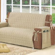 Sofa Cover - I like the straps. Do this to my existing cover to keep it on! Inspiration for couch cover This Pin was discovered by Aid Diy Sofa Cover, Couch Covers, Best Fabric For Sofa, Sofa Protector, Slipcovers For Chairs, Dining Chairs, Kitchen Chairs, Furniture Covers, Home Decor Ideas