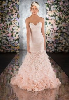 Tulle fit-and-flare pink wedding gown with ruffled skirt // 554 from Martina Liana Wedding Dresses