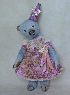 "15"" mohair bear. Custom dyed robin's egg blue. Vintage style toile dress with antique trims. BradyBears.com"