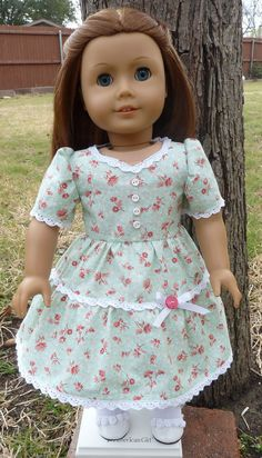 """18"""" Doll Clothes 1940's Style Party Dress for Spring Fits American Girl Molly, Emily, Kit, Ruthie on Etsy, $22.95"""