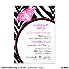 Zebra Print & Ring  Bachelorette Party Invitation