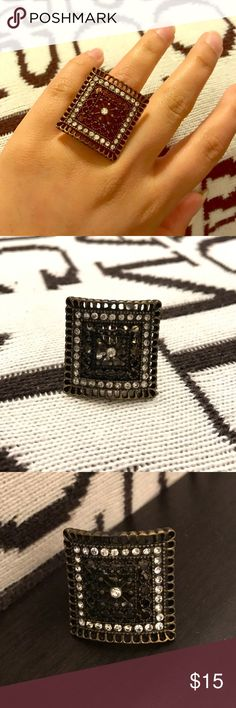 Stretch oversized Square Ring One size fits all Ring. Oversized and square--absolutely adorable Jewelry Rings