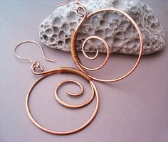 Wire Wrapped Spiral Earrings old-looking Copper by GearsFactory