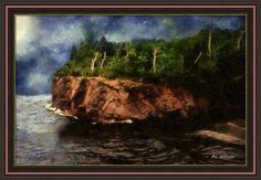 """Autumn Overlook"" ~ © 2017 RC deWinter The autumn wind ruffles the waters along a forested cliff on Lake Superior in rural Minnesota. Shown here as a Image: 30.00"" x 19.63"" framed matte canvas, frame Brown R, finished size 34.00"" x 23.63"". Available as wall art in a wide variety of media, sizes and configurations. Also available as greeting cards, home decor items, clothing, mugs, totes and other accessories. Pinterest prices inaccurate."