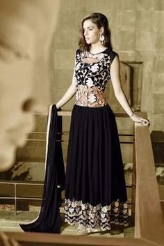 Brown georgette embroidered semi stitched salwar with dupatta. Salwar Suits  OnlineDesigner Salwar SuitsDesigner AnarkaliDesigner GownsSalwar ... 24859086b