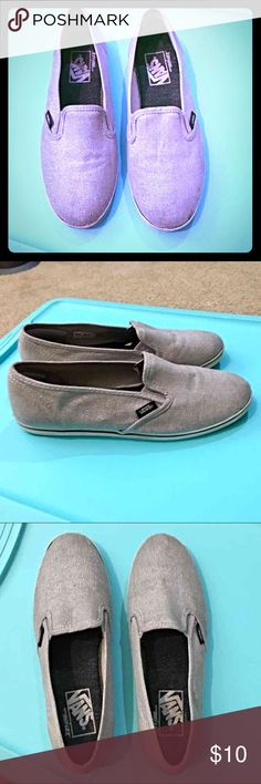 Van's slip-ons Size 7.5 Pre-loved, Shimmery gray, Vans slip on, comfy shoes.   This pair is unisex and is marked women's size 7 1/2 or men size 6.  These show some wear, but much life left in these.  See something else you like? Leave me a comment and save on a personalized order! Vans Shoes