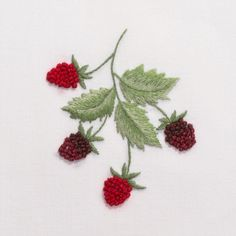 Raspberries<br>Hand Towel - White Cotton