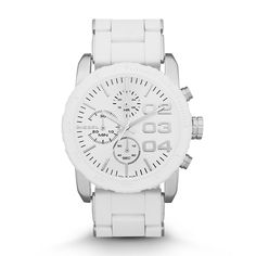 Diesel DZ5306 White Silicone Bracelet Women's watch.  CASE SIZE: 46 mm x 42 mm CASE THICKNESS: 11 mm LUG WIDTH: 22 mm WATER RESISTANT: 10 ATM PACKAGING: Diesel Watch Box WARRANTY: 2 Year International ORIGIN: Imported
