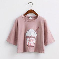 Korean style cotton loose crop tops kawaii t-shirt