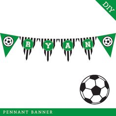 Soccer Party  Personalized DIY printable pennant by Chickabug