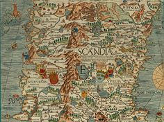 Olaus Magnus' Map of Scandinavia 1539, Section E: Norway and Sweden