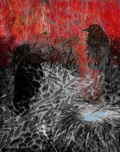 Nuit Rouge #iphoneart #digitalart #digitalcollage #appart #ravens #nests #eggs #art #family
