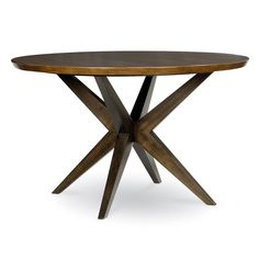 "Kateri Round Pedestal Table - Kitchen & Dining Room Tables at Hayneedle; great/fun shape, 50"", not sure if too dark of a color, looks like legs do not impede seating"