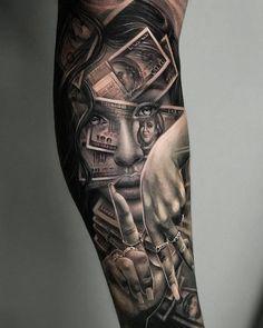 Fantastic pieces by the super talented - - Tattoo frauen - Chicano Tattoos Sleeve, Forarm Tattoos, Best Sleeve Tattoos, Dope Tattoos, Badass Tattoos, Tattoo Sleeve Designs, Forearm Tattoo Men, Tattoo Designs Men, Leg Tattoos