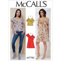 Misses Tops and Dresses McCalls Sewing Pattern 7785.