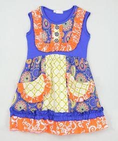 Love this Blue & Orange Floral Bib Dress - Infant, Toddler & Girls on #zulily! #zulilyfinds