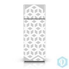 Fridge Decal - Modern Hexagon Cube Pattern Geometric Wallpaper - Fridge Skin Vinyl Sticker