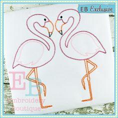 Sketch Flamingos Embroidery Design