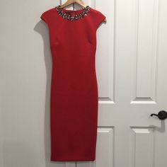 Ted Baker Red Dress; Size 1; Authentic I am sad to sell this beautiful Ted Baker dress but as you can see it's too small on me. I wore it once! size 1. Ted Baker Dresses Midi