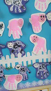 handprint art - pigs and sheep