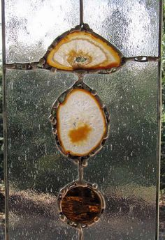 Agates with Blue and Amber is framed in zinc and measures approximately inches wide by 15 inches tall. The panel includes 2 natural polished agate slices and light blue, amber / colbalt wispy, amber water glass and clear textured stained glass. Stained Glass Designs, Stained Glass Panels, Stained Glass Projects, Stained Glass Patterns, Leaded Glass, Stained Glass Art, Broken Glass Art, Sea Glass Art, Mosaic Glass
