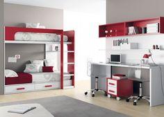 litera blanca y roja 46 - litera 2 camas+cajones