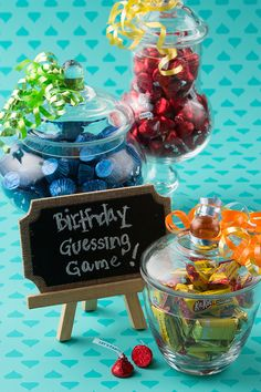 The Sweetest Birthday Guessing Game — Bring HERSHEY-tastic carnival games to your child's party with this simple and fun birthday candy guessing game. The closest guesser gets to take the jar and candy home! What could be better than that? Let's make your child's party the sweetest celebration ever, with HERSHEY'S Birthday candy. Let's Birthday!