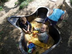 Caring Connection's Natural Playscape Fish pond liner for a play pit. Kids Outdoor Play, Outdoor Play Spaces, Outdoor Learning, Backyard For Kids, Outdoor Fun, Indoor Play, Pond Liner, Sensory Garden, Sensory Play