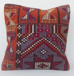 Vintage Blue Orange Kilim Pillow Cover Decorative by Sheepsroad, $55.00