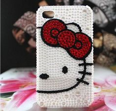 iPhone 5 case, iPhone case, cases for iPhone 5 , mobile case handmade rhinestone iphone 5 cases : Bling  hello kitty. $14.88, via Etsy.