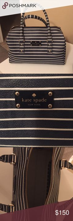 Kate. Spade. Navy  and. White. Stripes Kate. Spade.  Used. 1time. It's. A. Pretty  navy. Blue. With. White. Stripes kate spade Bags Satchels