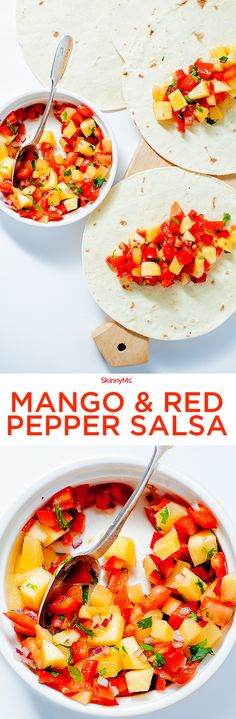 Whenever I serve this mango red pepper salsa to a crowd at a get together, they all apparently share the love because it always disappears so quick. Mango season is the best!