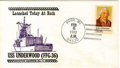USS UNDERWOOD FFG-36 Naval Cover 1982 LAUNCH Cachet BATH, ME