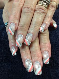 Mandy's nails. Coral, white and sparkles gel nail art.