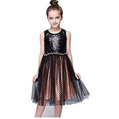 143b70b58ca Amazon.com  MMBeauty Baby Girls Sleeveless Sequin Bodice Dot Mesh Tulle  Party Dress Black