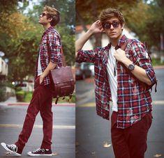 Adam Gallagher - Spektre Sunnies, Metro Park Plaid, Kasil Jeans, Viparo Backpack - Galla Spectrum: RED