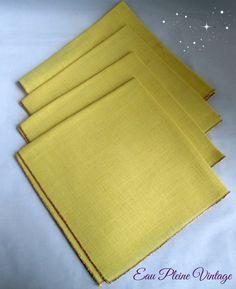 Gold Dinner Napkins Set Four Vintage Cotton by EauPleineVintage