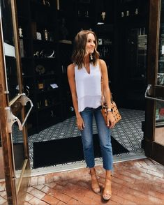 Summer jean + white top combo