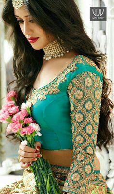 Lawn Green and Blue Colored Shivangi Joshi Lehenga Choli Moda India, Sari, Lehenga Choli, Saree Blouse Designs, Indian Designer Wear, Indian Sarees, Indian Bridal, Indian Dresses, Indian Wear