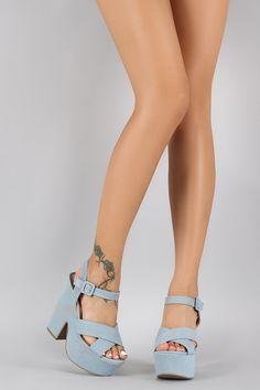 8a22c3fedc1 Wild Diva Lounge Denim Casual Platform Chunky Heel