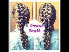 ▶ 5 STRAND DUTCH BRAID HAIR TUTORIAL - MEDIUM LONG HAIR - YouTube