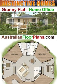 Bed Round House Plan: or 970 Sq. Round House Plans, House Plans One Story, New House Plans, Dream House Plans, Story House, Modern House Plans, Small House Plans, Australian House Plans, House Plans Australia