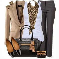 Camel blazer with gray pants
